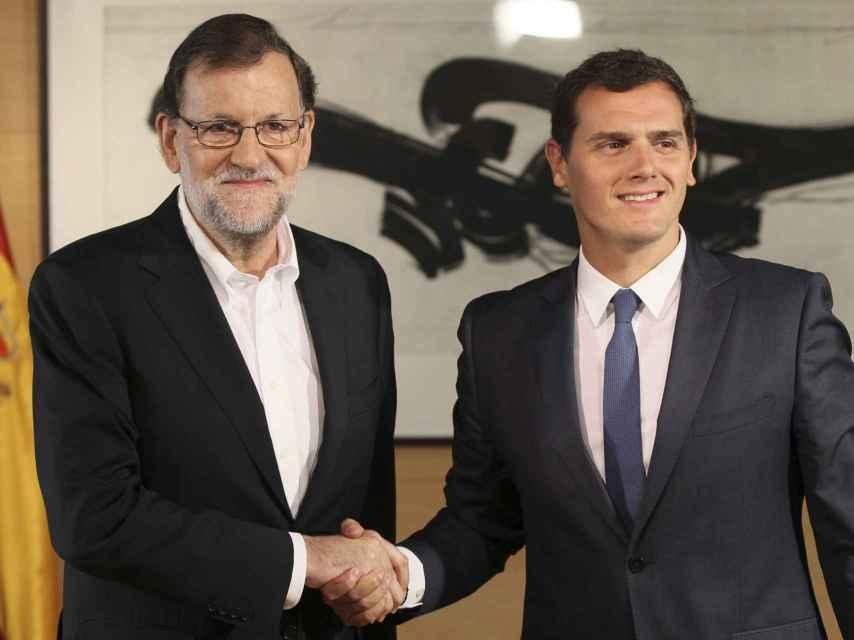 Una de las reuniones entre Rajoy y Rivera.
