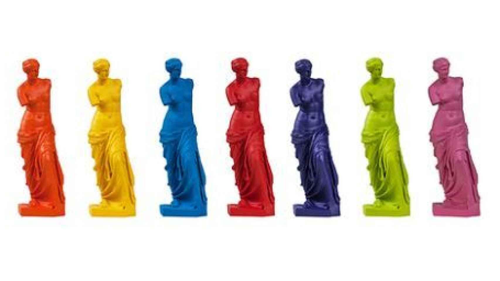 Toda la gama de colores de la réplica de resina.