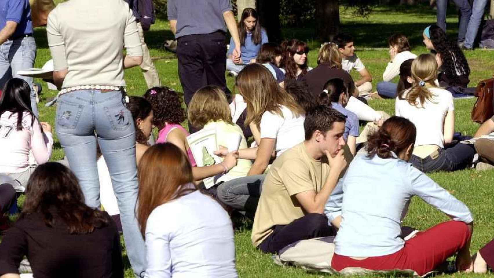 Varios jóvenes estudiantes sentados en un cesped.