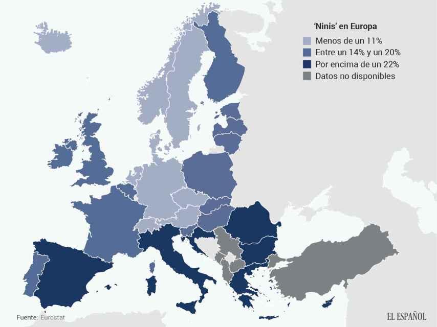 Así se distribuyen los veinteañeros que ni estudian ni trabajan en Europa