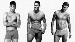 Neymar, James Rodríguez y David Beckham, un buen ejemplo de futbolistas en calzoncillos.