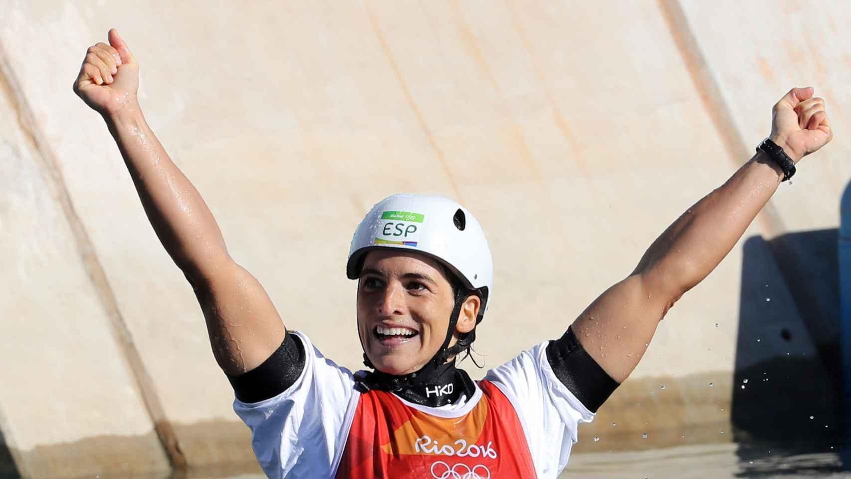 Maialen Chourraut celebra su oro en Río.