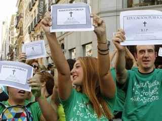 Manifestación de la 'marea verde' del profesorado contra la Lomce