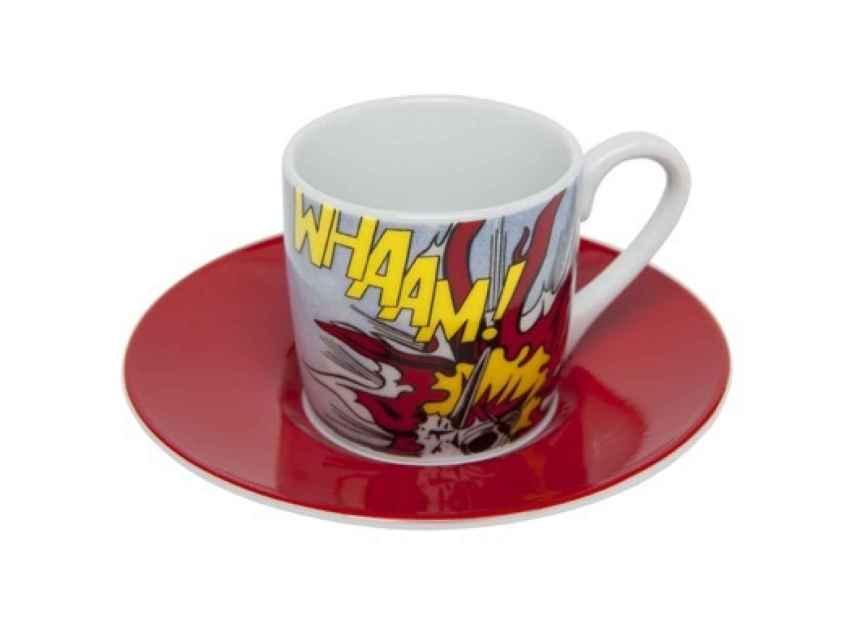 Plato y taza de café inspiración Lichtenstein, en la TATE, por 15 libras.