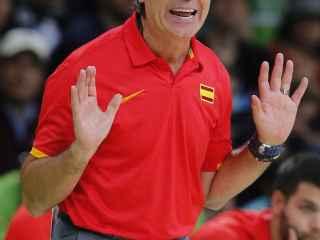 Sergio Scariolo en el partido contra Lituania.