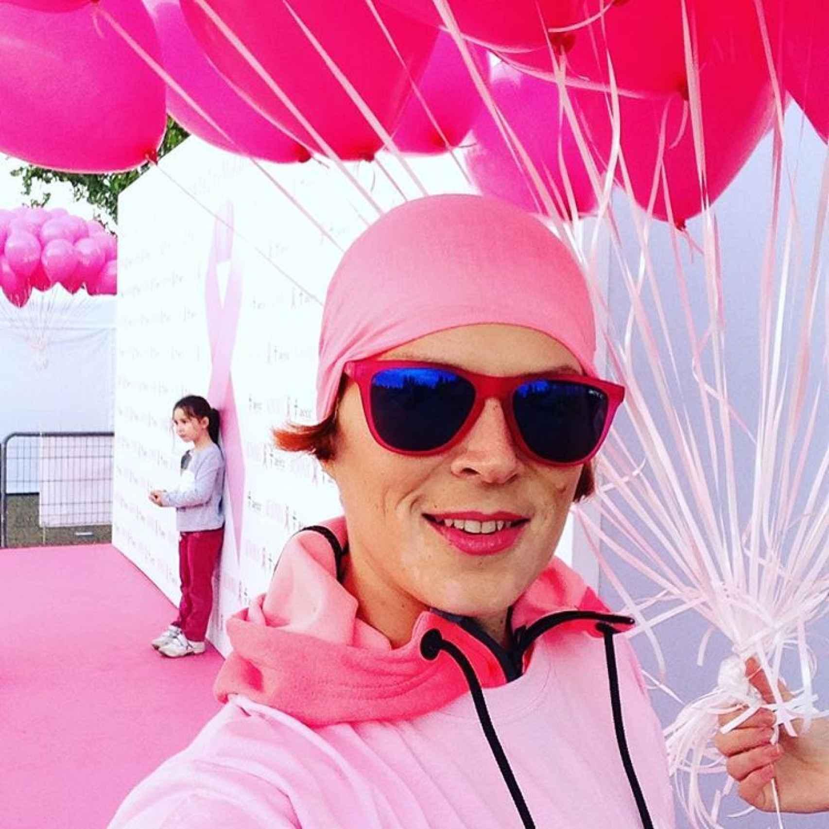 La modelo en la carrera contra el cáncer