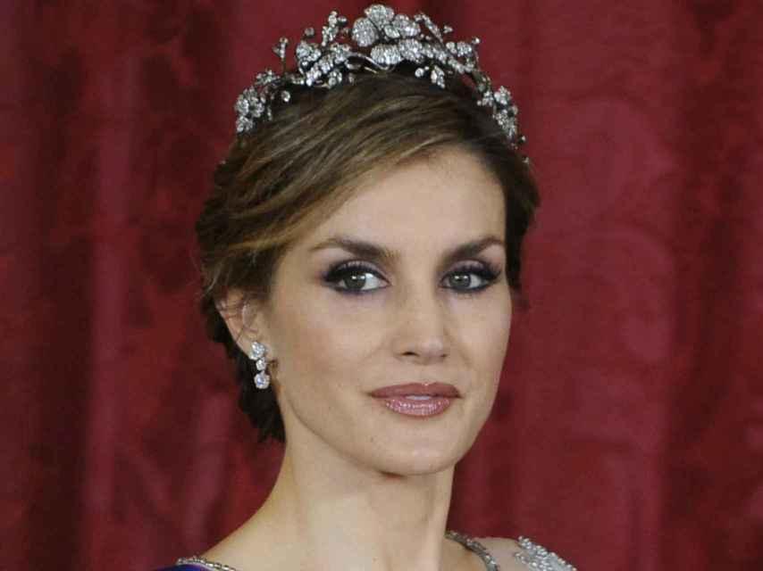 Letizia, con la tiara floral, su preferida.