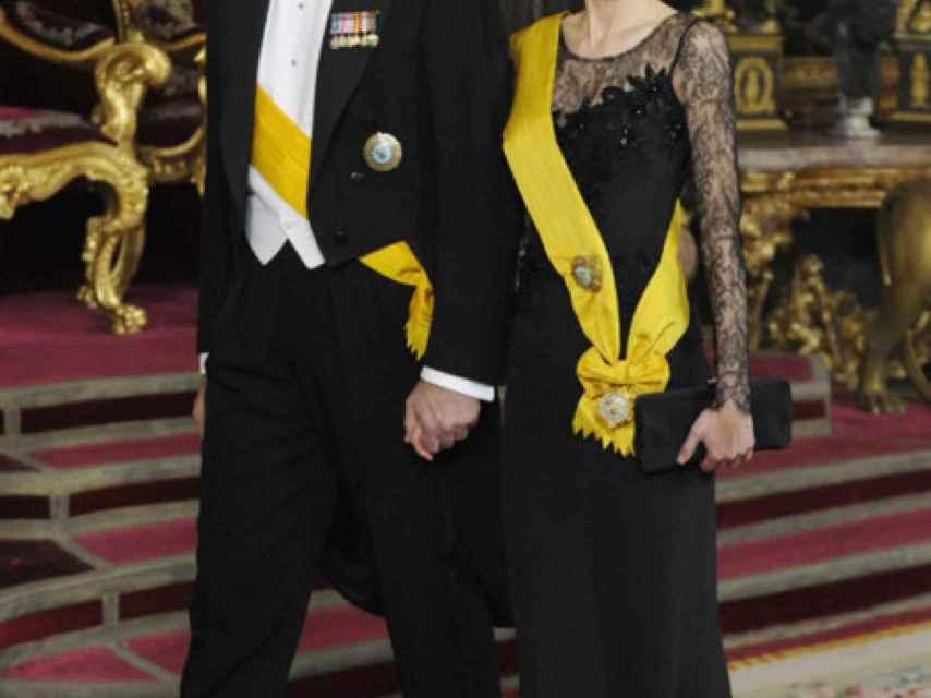 Felipe y Letizia, durante la visita del presidente de México.