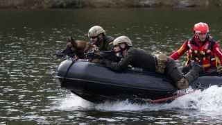 Ejercicio realizado con un perro soldado del Ejército.