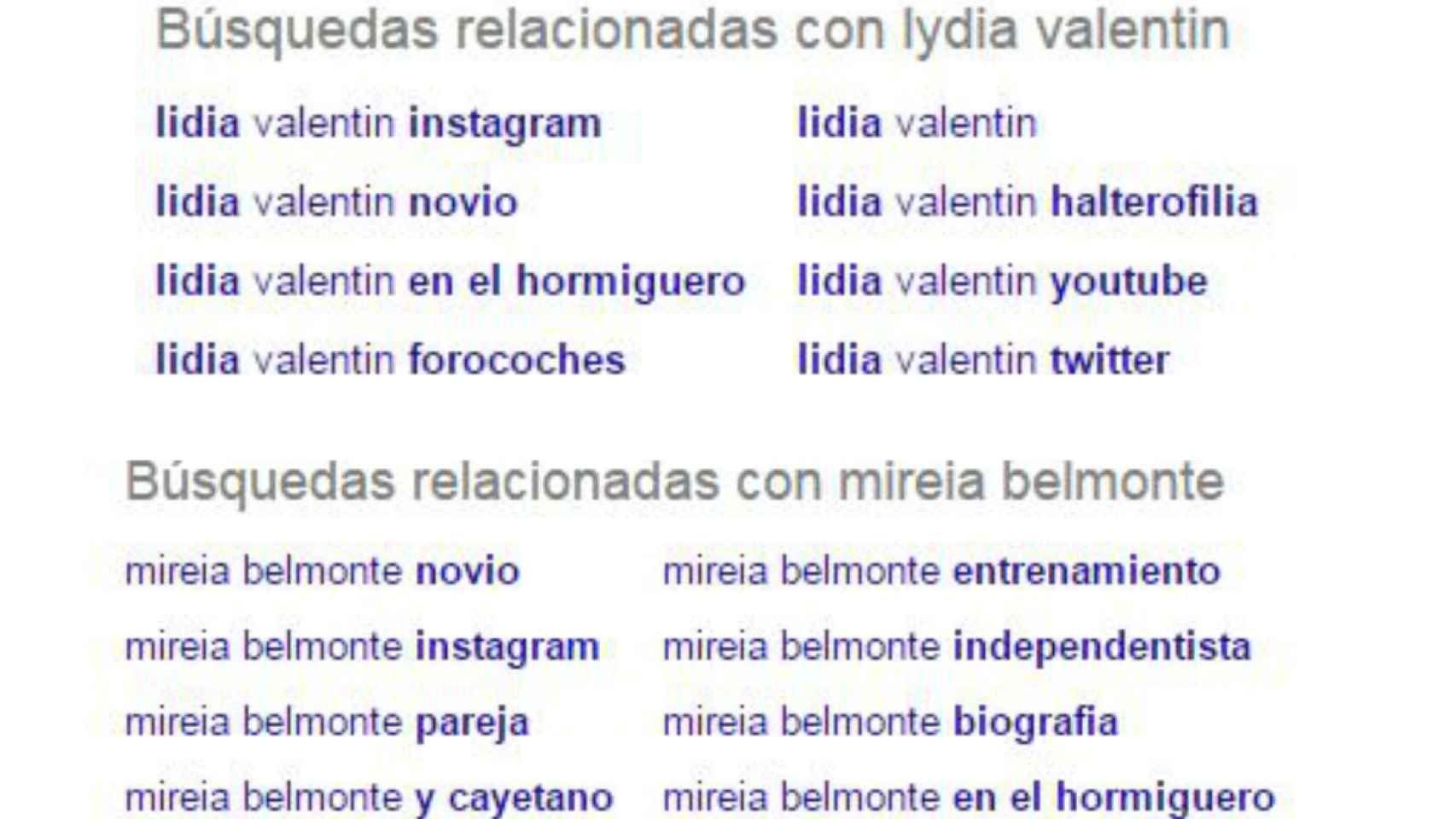 Búsquedas relacionadas a Mireia Belmonte y Lydia Valentín en Google.