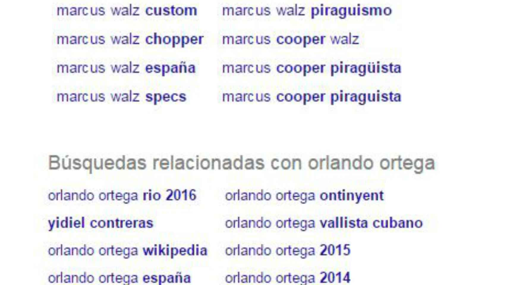 Búsquedas relacionadas con Marcus Walz y Orlando Ortega en Google.