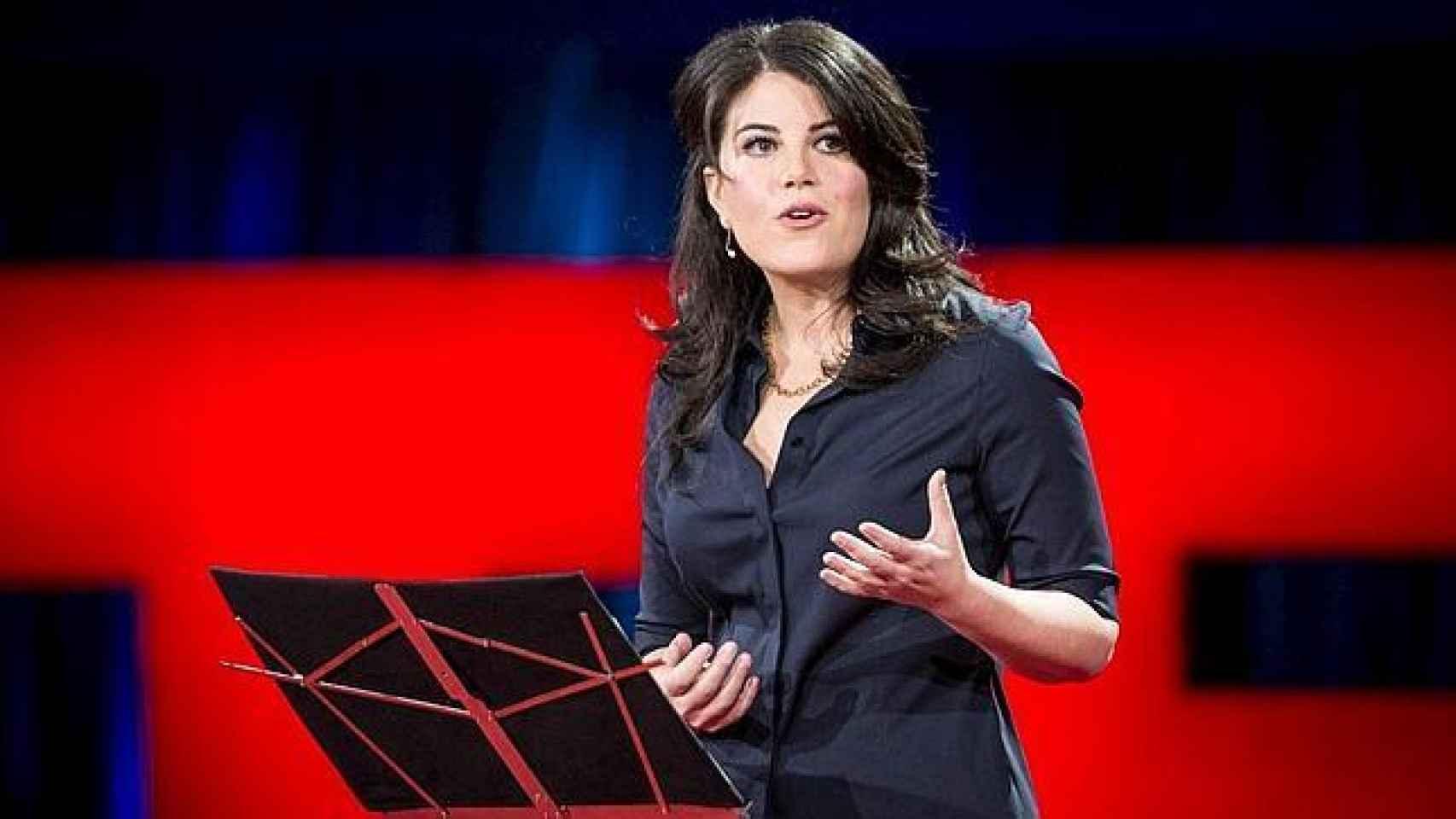 Mónica Lewinsky, durante uno de sus últimos discursos.