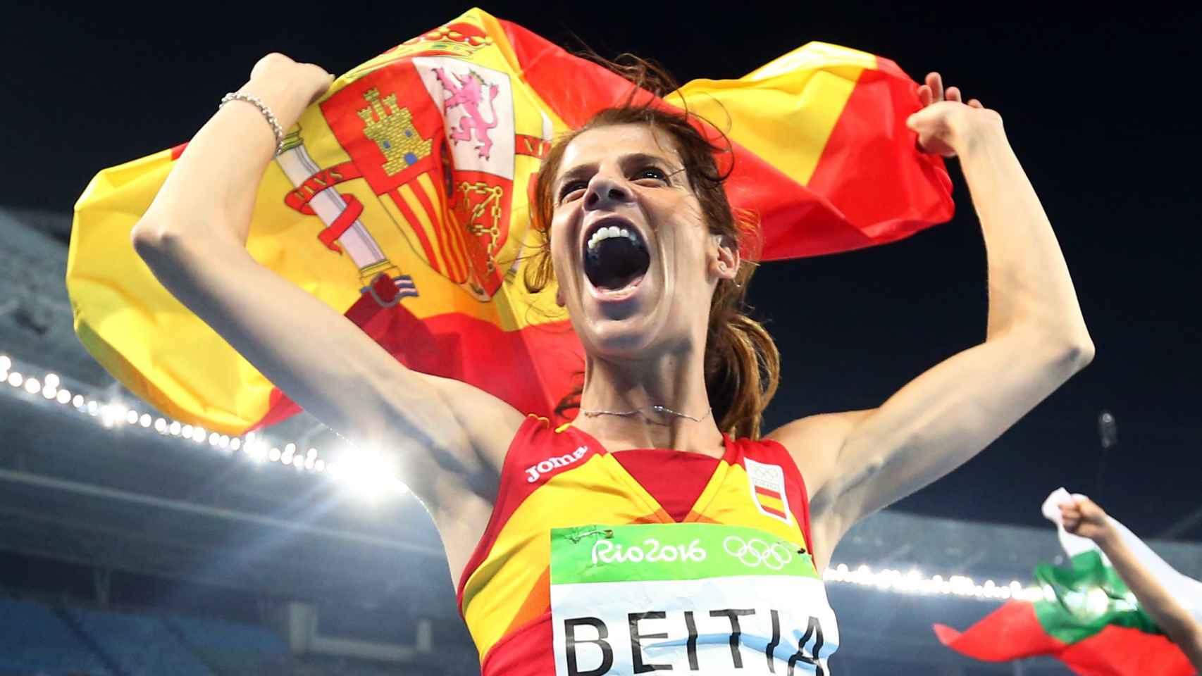 Beitia en plena celebración de su oro olímpico en los Juegos de Río.