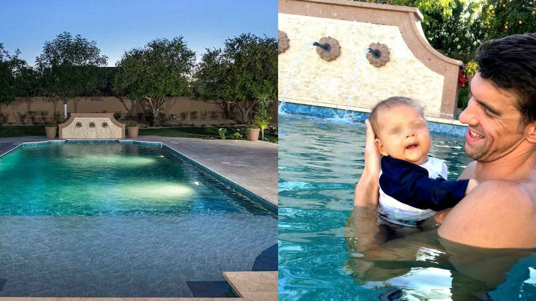 En la casa de un nadador olímpico no podía faltar una gran piscina donde entrenar.