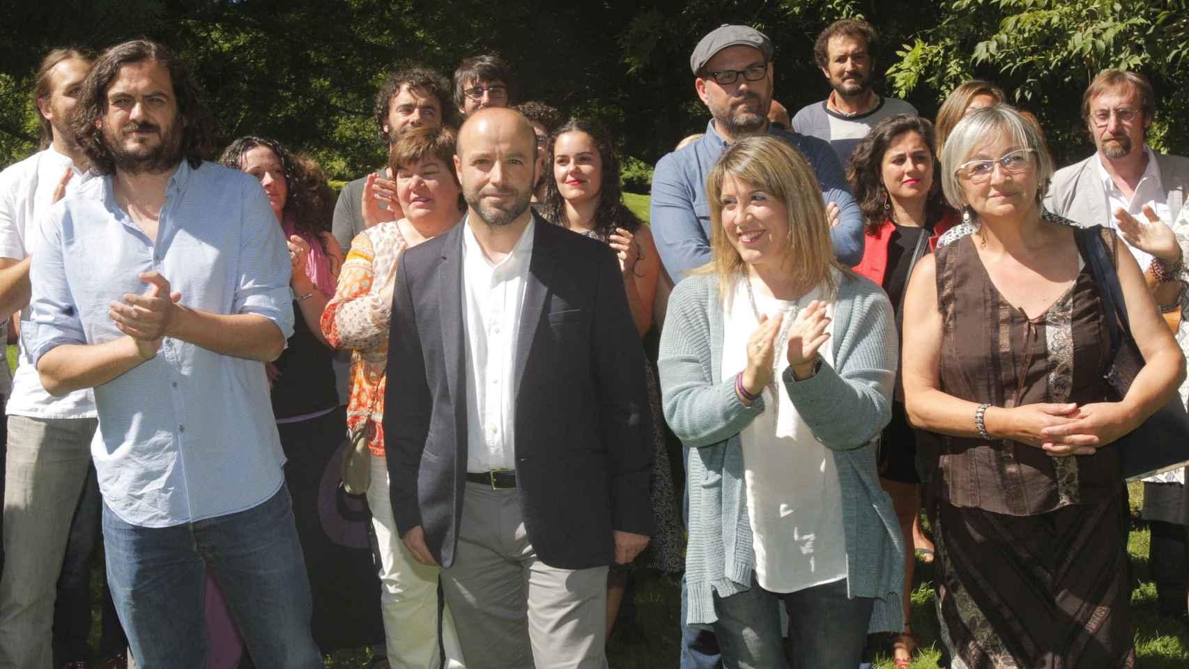 El magistrado Luis Villares presentando las listas de En Marea a las elecciones gallegas.
