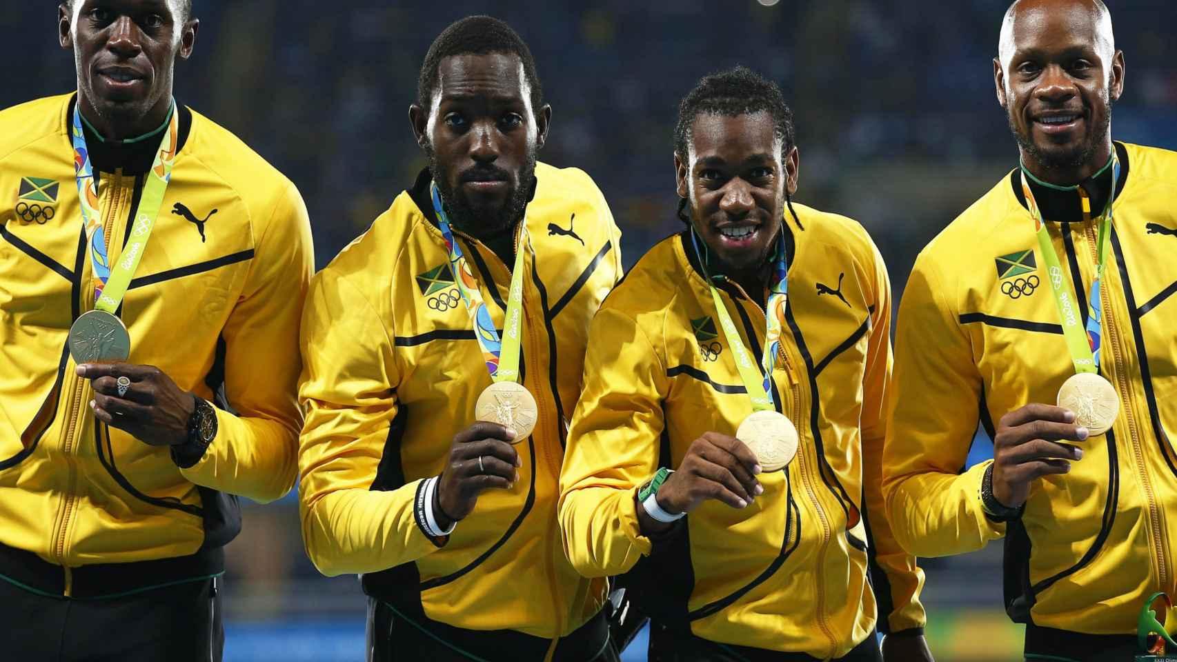 Usain Bolt, Nickel Ashmeade, Yohan Blake y Asafa Powell.