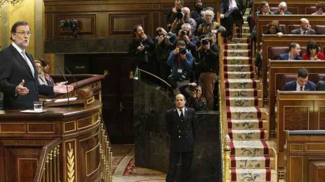 Rajoy en una comparecencia en la tribuna del Congreso