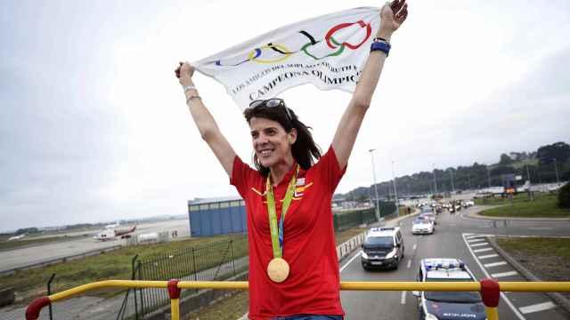 Ruth Beitia en su llegada a Santander