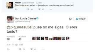 Sor Lucía Caram se enzarza con un tuitero.