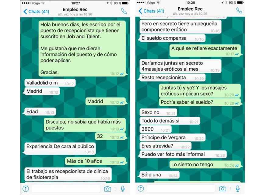 Los mensajes de Whatsapp que recibió Érika.
