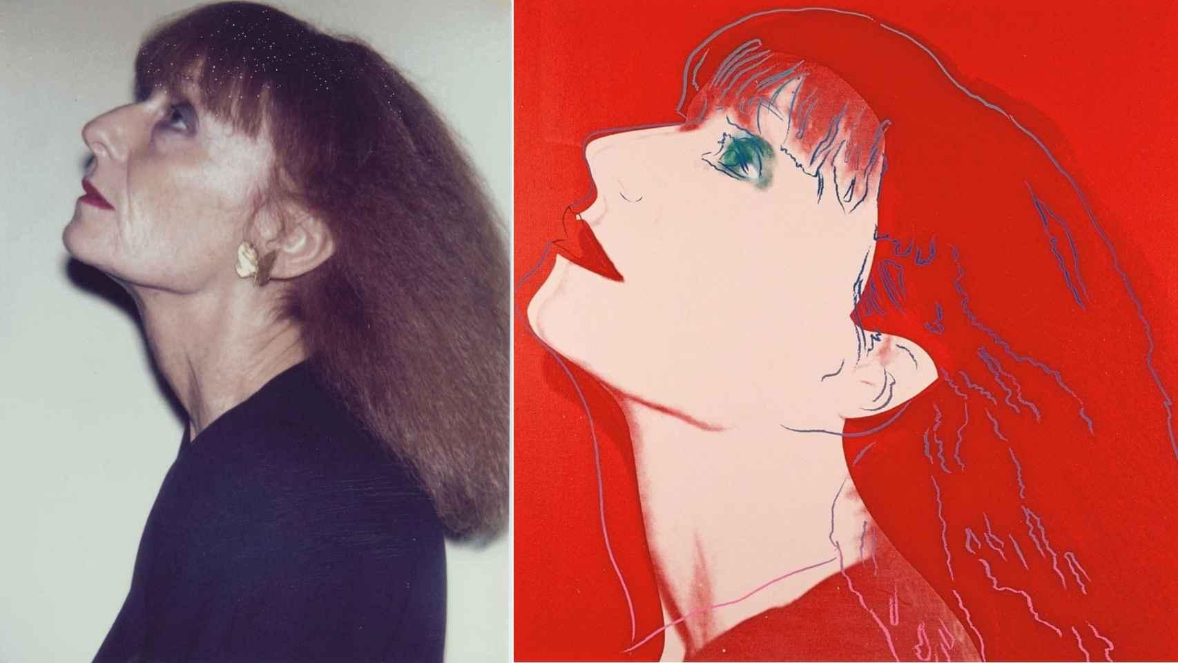 Fotografía Polaroid y retrato que le hizo Andy Warhol.