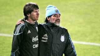 Messi y Maradona en una imagen de archivo.