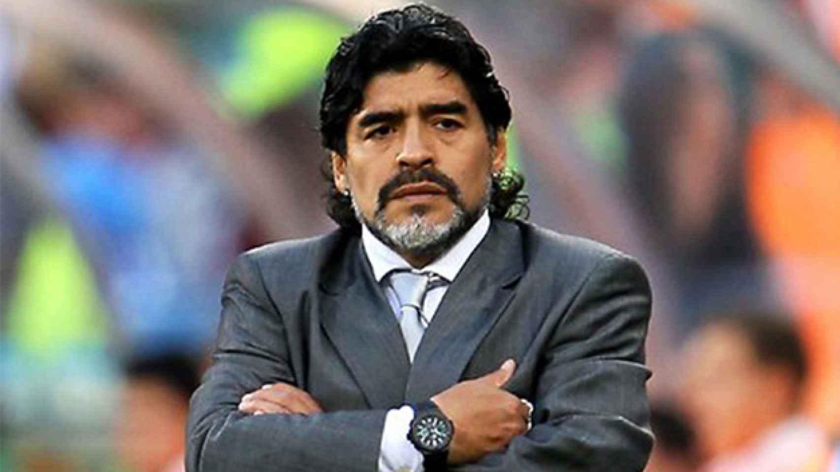 Diego Armando Maradona en un partido del Mundial de Sudáfrica.