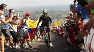 Nairo Quintana en el momento de lanzar el ataque en el último kilómetro.
