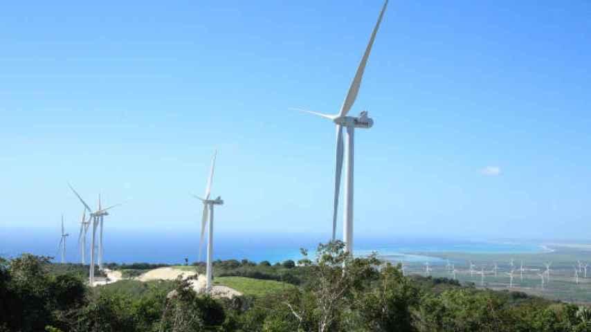 Imagen de archivo de un parque eólico.