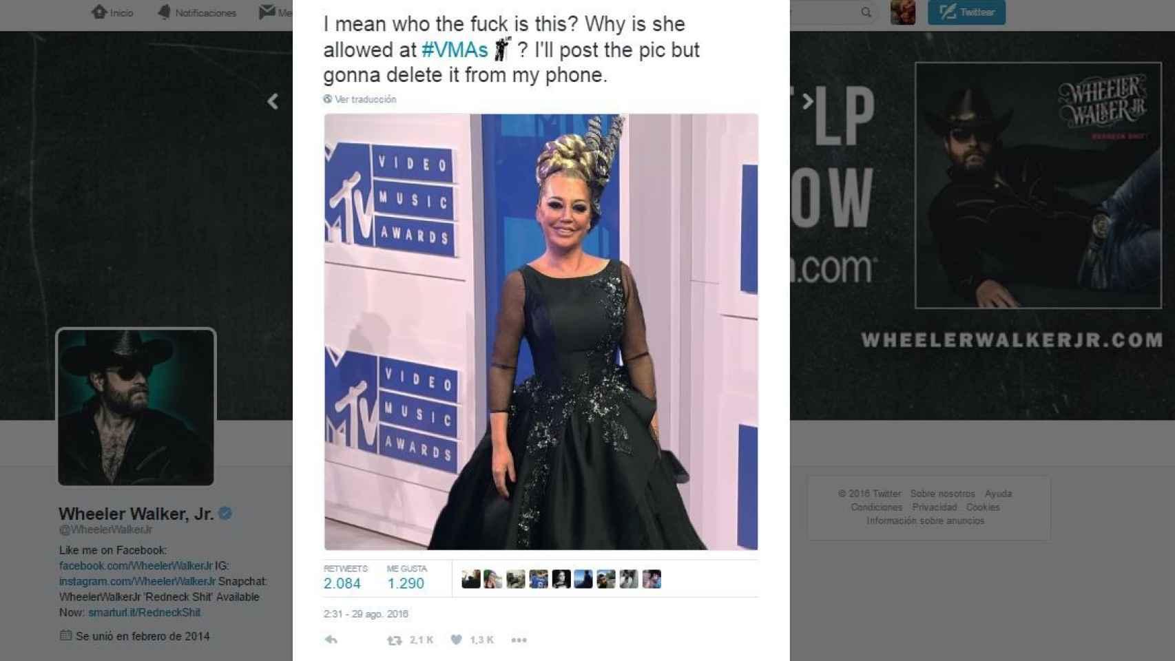 El tweet de Wheeler Walker Jr enfurecido por la presunta presencia de Belén Esteban en los VMAs