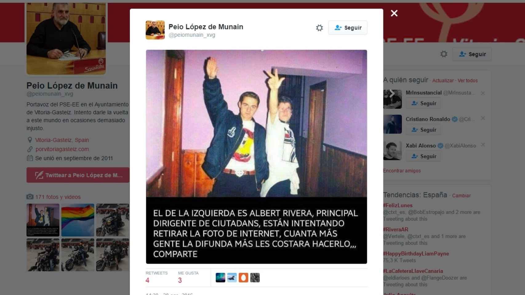 La imagen del bulo que ha compartido Peio López de Munain.
