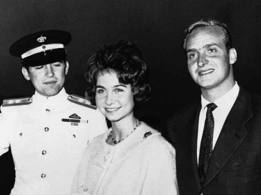 Constantino con su hermana y su cuñado, Sofía y Juan Carlos.