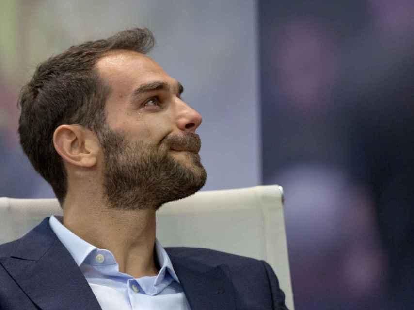 José Manuel Calderón emocionado durante su despedida de la selección.