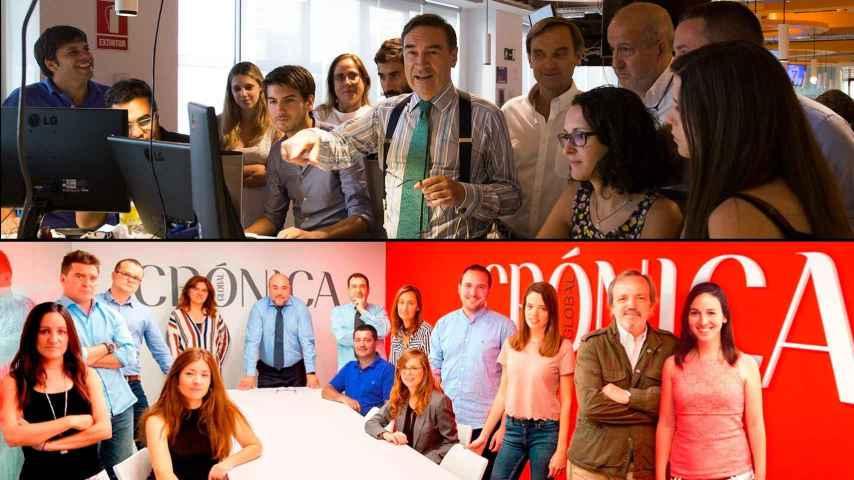 Arriba, la redacción de EL ESPAÑOL; debajo, el equipo de Crónica Global.