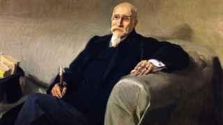 Retrato de Joaquín Sorolla  del ingeniero, dramaturgo, político y matemático español José Echegaray (1832-1916).