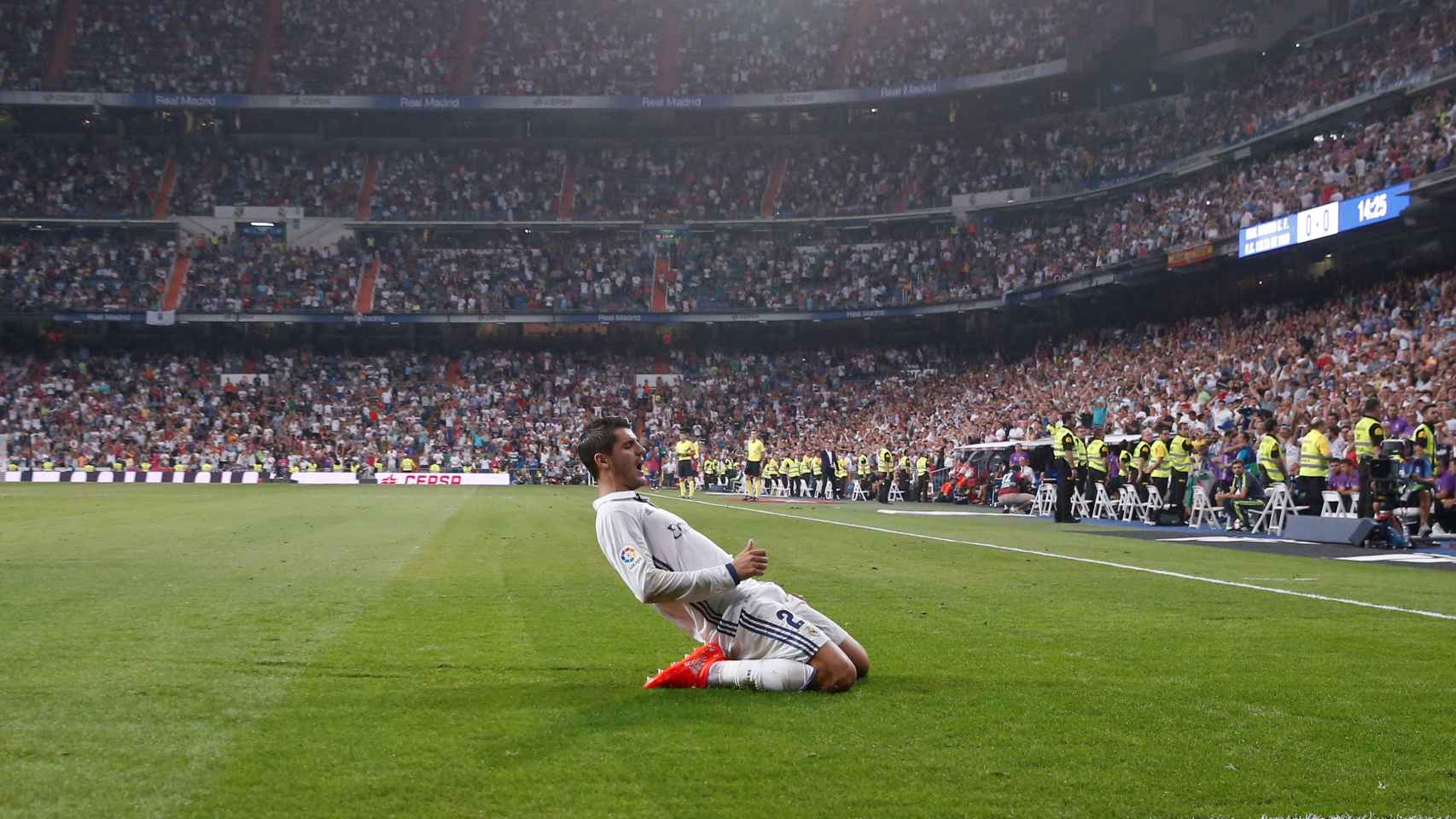 Morata celebra un gol con el Madrid.