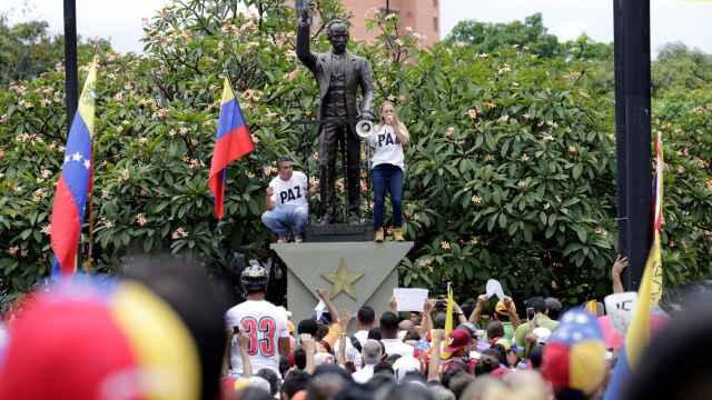 La esposa del opositor Leopoldo López, Lilian Tintori, en la manifestación.