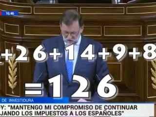 La captura del vídeo que atribuye el error de cálculo a Rajoy.
