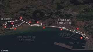 Mapa del recorrido realizado en A Pobra.