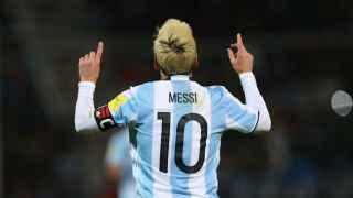 Messi celebra su gol ante Uruguay.