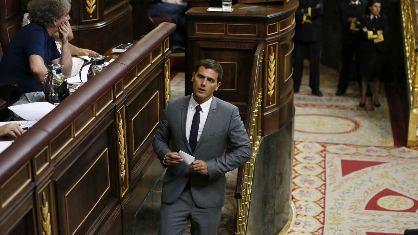 Rivera tras su discurso en la segunda votación de investidura.