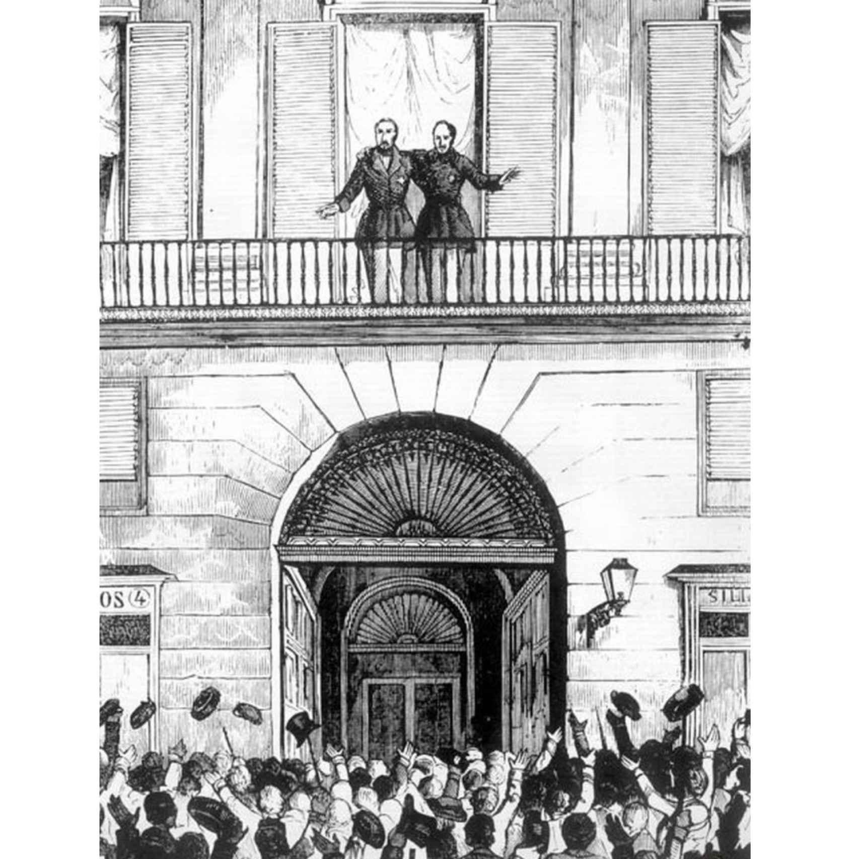 Espartero y O´Donnell aclamados en Madrid en julio de 1854.