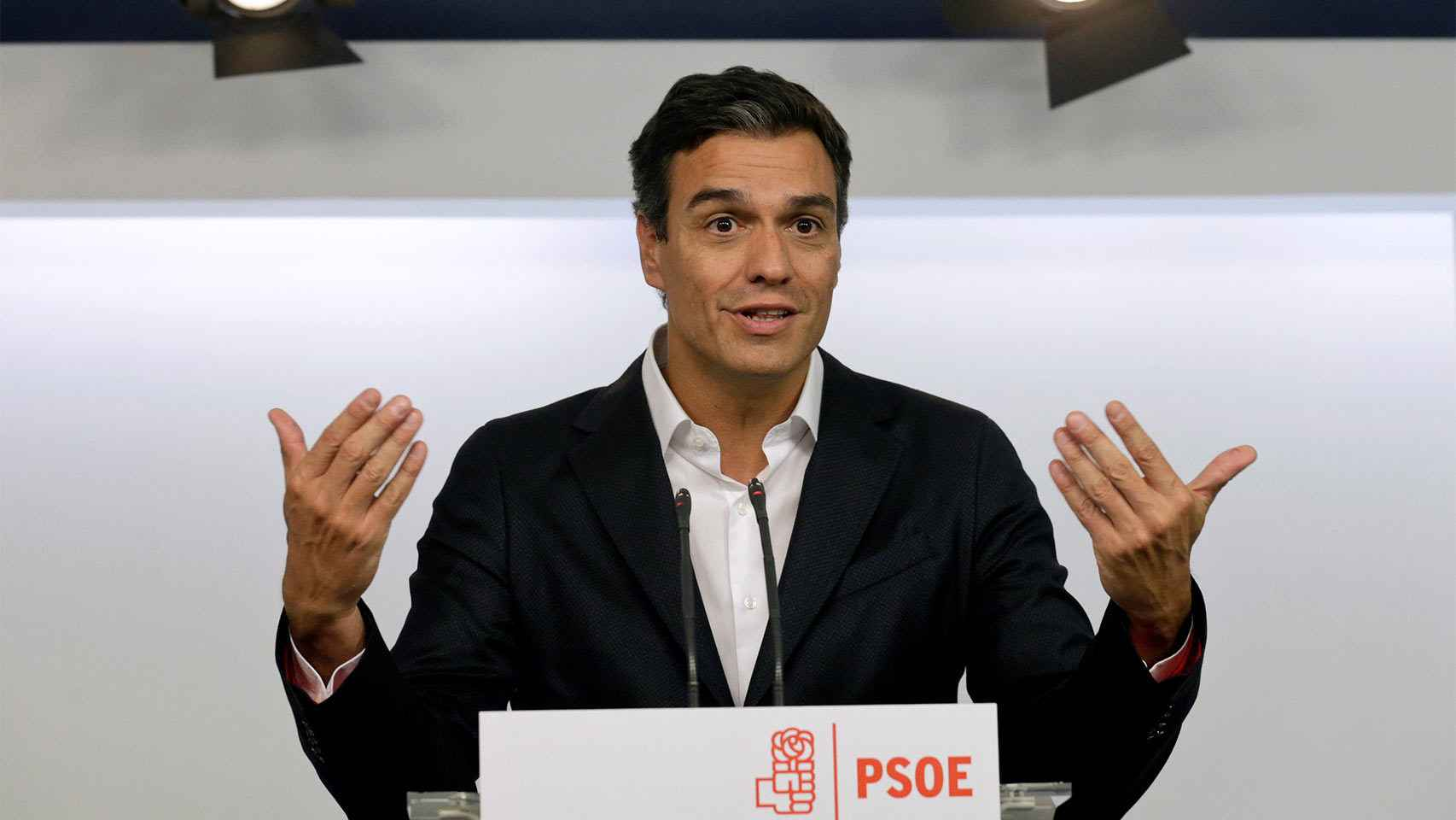 Pedro Sánchez, en la sede del PSOE.