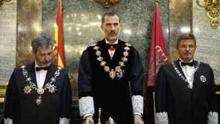 Lesmes, junto al rey y el ministro de Justicia, en la apertura del año judicial.