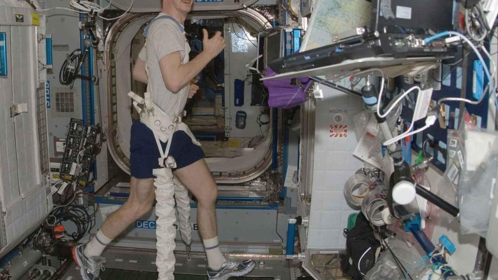 El astronauta Frank de Winne ejercitando los músculos para evitar la atrofia en la ISS