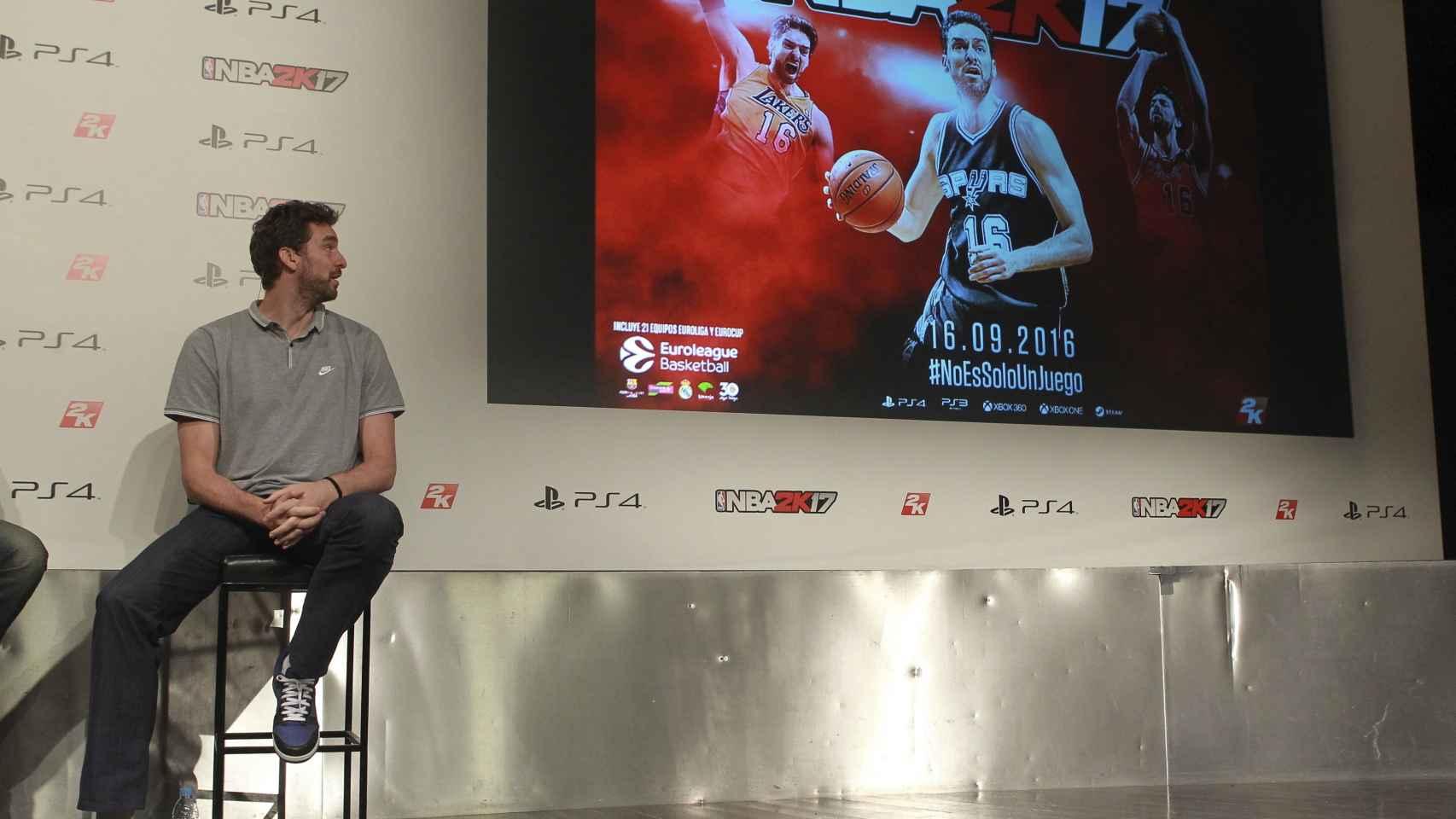 Pau Gasol, durante la presentación hoy del videojuego NBA2K17.