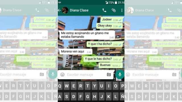 El WhatsApp que Diana envió a su amiga.