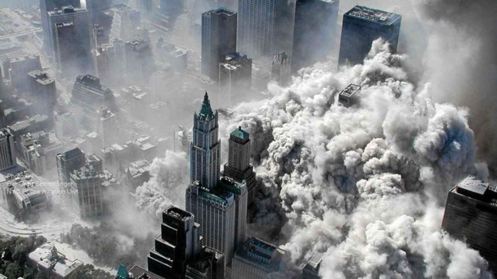 Fotogafía tomada por el Departamento de Policía de Nueva York tras el derrumbe de las Torres Gemelas