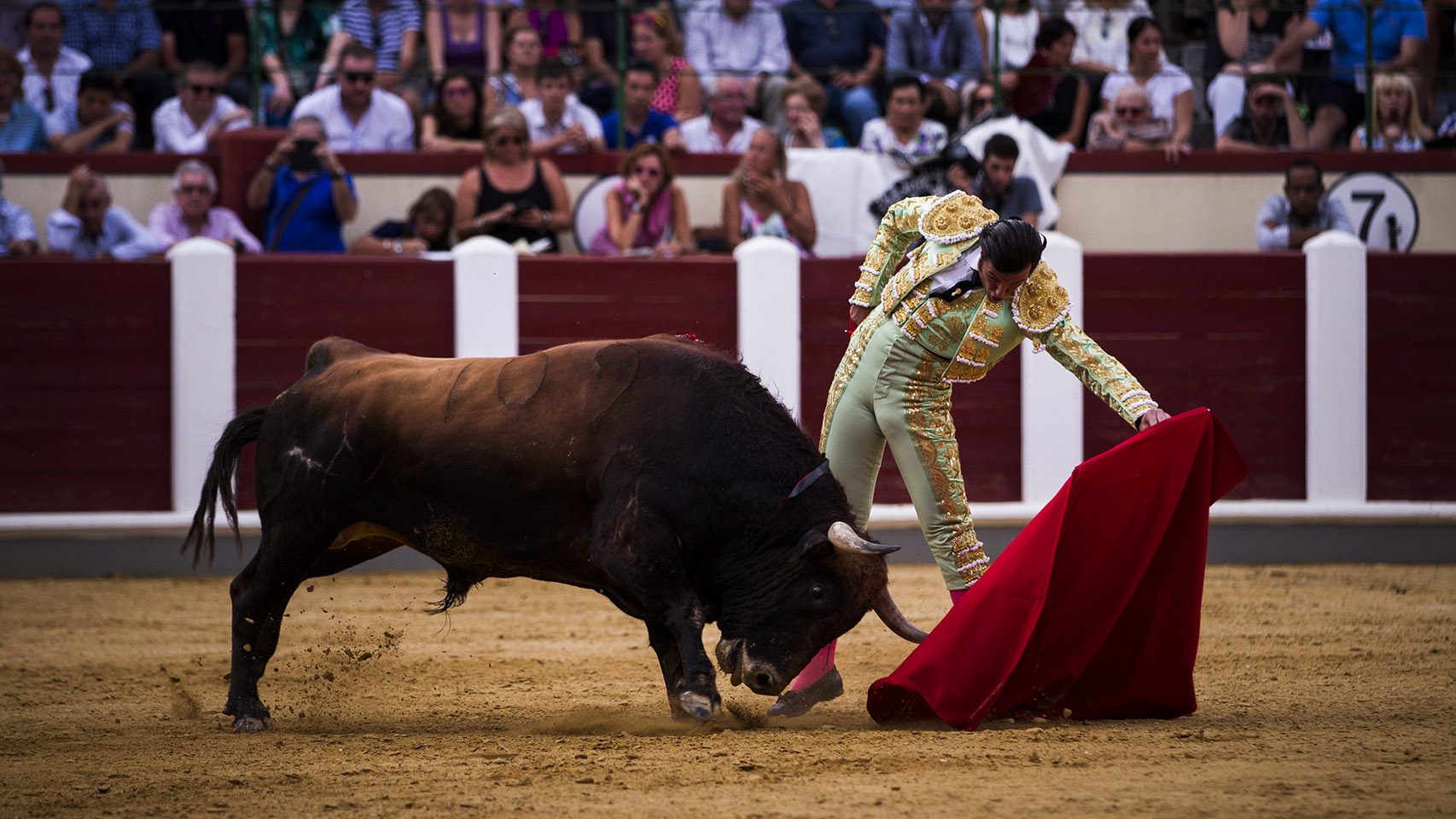 Natural de David Mora al mejor toro de una blanda corrida de El Pilar.