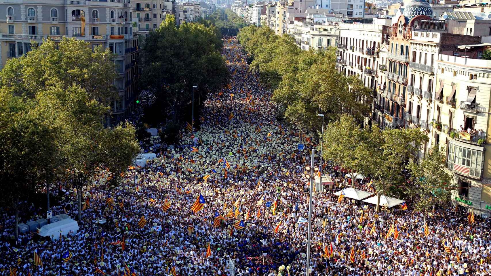 Imagen de la concentración independentista en Barcelona del domingo